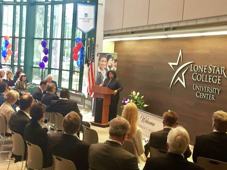 Dr. Alicia B. Harvey-Smith, Executive Vice Chancellor of Lone Star College, speaks during a ceremony announcing a new sports business degree program in collaboration with Stephen F. Austin University. The degree has been offered at SFA since 2015, but the new partnership brings the program to Lone Star College students beginning in the fall of 2018.