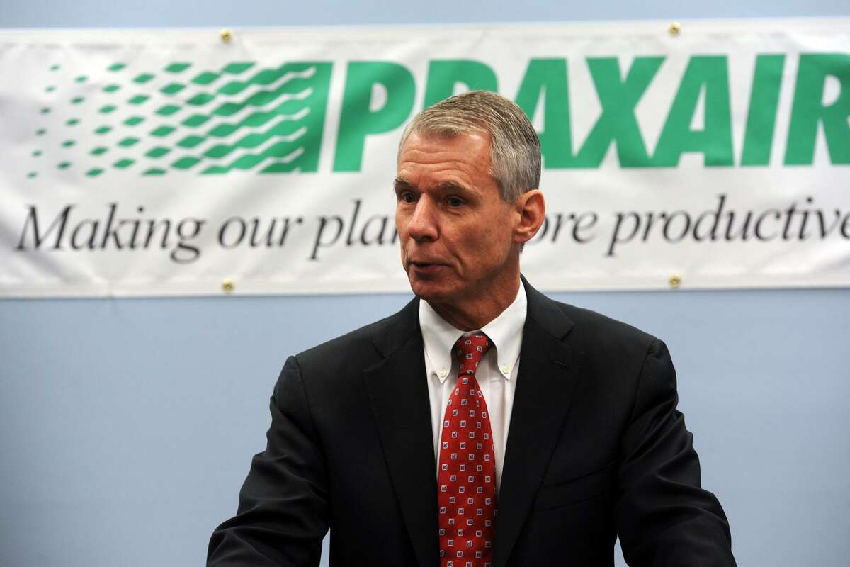 Stephen Angel, Chairman, President and Chief Executive Officer of Praxair, Inc. speaks during a meeting at the Greater Danbury Chamber of Commerce, in Danbury, Conn. Oct. 31, 2014. Praxair announced they will keep their world headquarters in Danbury, and will invest $65 million to build a new 100,000 square foot corporate facility.