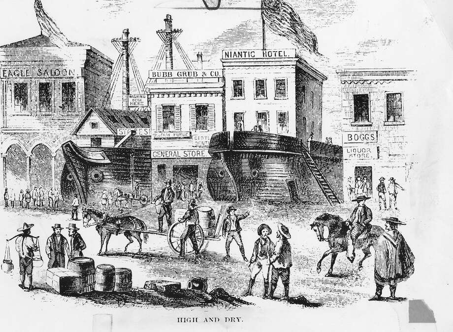 A drawing of the Niantic, a Gold Rush ship that was beached on Sansome Street and turned into a hotel.