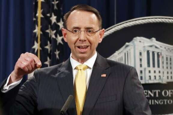 Deputy Attorney General Rod Rosenstein, speaks to the media with an announcement that the office of special counsel Robert Mueller says a grand jury has charged 13 Russian nationals and several Russian entities, Friday, Feb. 16, 2018, in Washington. The defendants are accused of violating U.S. criminal laws to interfere with American elections and the political process. (AP Photo/Jacquelyn Martin)