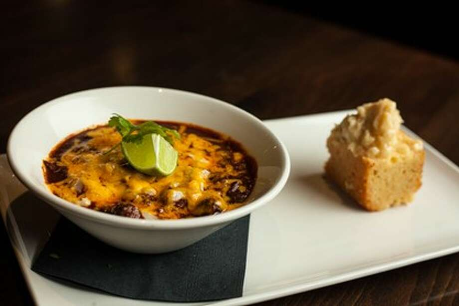 The signature Short Rib Chili from Chef/Owner Phillip Brown of Vince Young Steakhouse in Austin! Served with house made cornbread and brown sugar honey butter.