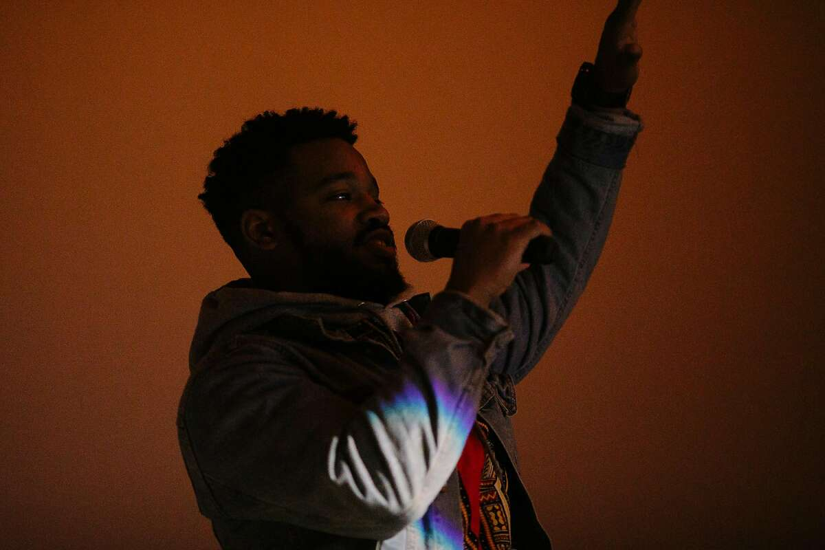 Director of Black Panther, Ryan Coogler, surprises the crowd before the premiere of Black Panther at Grand Lake Theatre in Oakland, Calif. Thursday, Feb. 15, 2018.