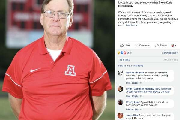 Antonian College Preparatory High School posted a photo of former assistant football coach Steve Kurtz following his death on Thursday, Feb. 15, 2017. Kurtz died of a heart attack in Corpus Christi.