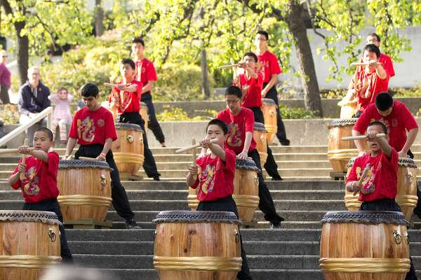 Japanese Taiko drummers perform at Oakland Museum of California's Lunar New Year festival.  Photo: Jason Lew