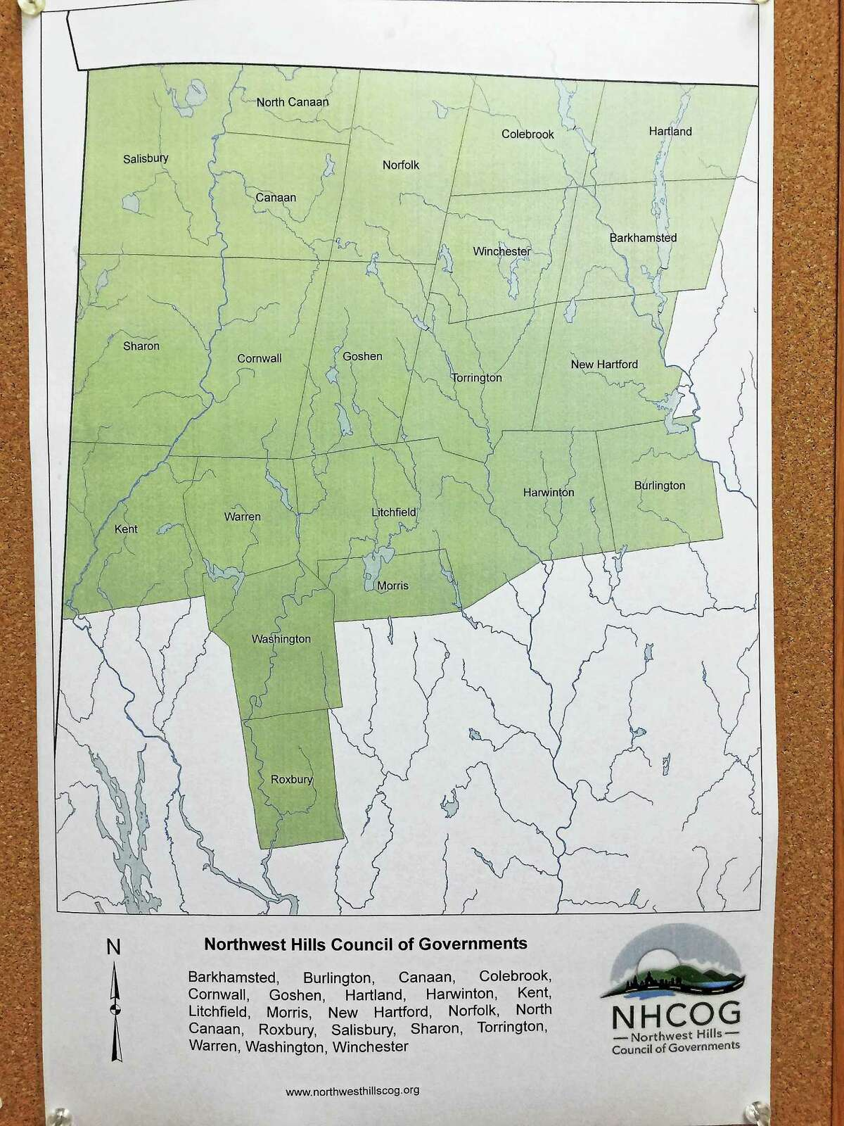 A map showing the towns represented in the Northwest Hills Council of Governments.