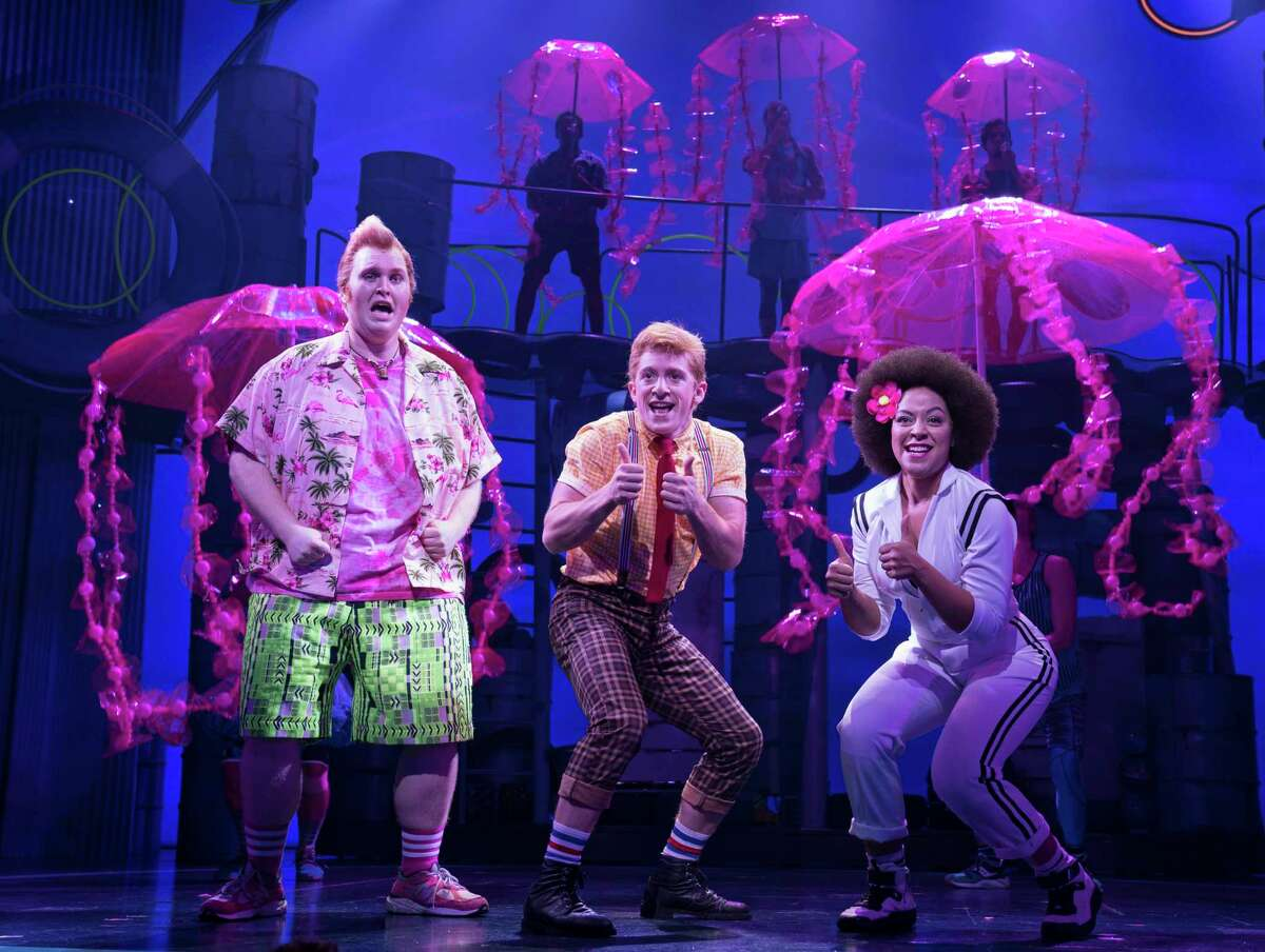 """Danny Skinner, from left, stars as Patrick Star, Ethan Slater as SpongeBob SquarePants and Lilli Cooper as Sandy Cheeks in """"SpongeBob SquarePants: The Broadway Musical"""" on Broadway."""