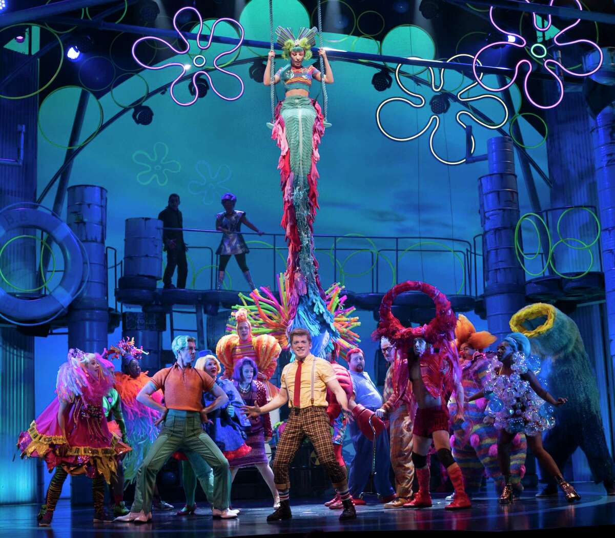 """Ethan Slater as SpongeBob in Â?""""SpongeBob SquarePants: The Broadway MusicalÂ?"""" at the Palace Theater in New York, Nov. 4, 2017. The roughly $20-million musical, based on the Nickelodeon cartoon that made an unlikely superstar out of a yellow kitchen sponge, is said to explode off the stage. (Sara Krulwich/The New York Times)"""