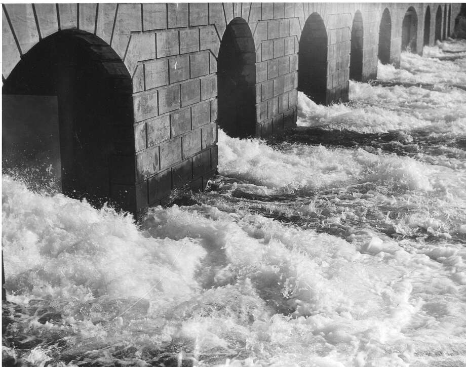 Water from the lakes in the Sierra flows through Moccasin Powerhouse on Oct. 26, 1934, generating electricity.