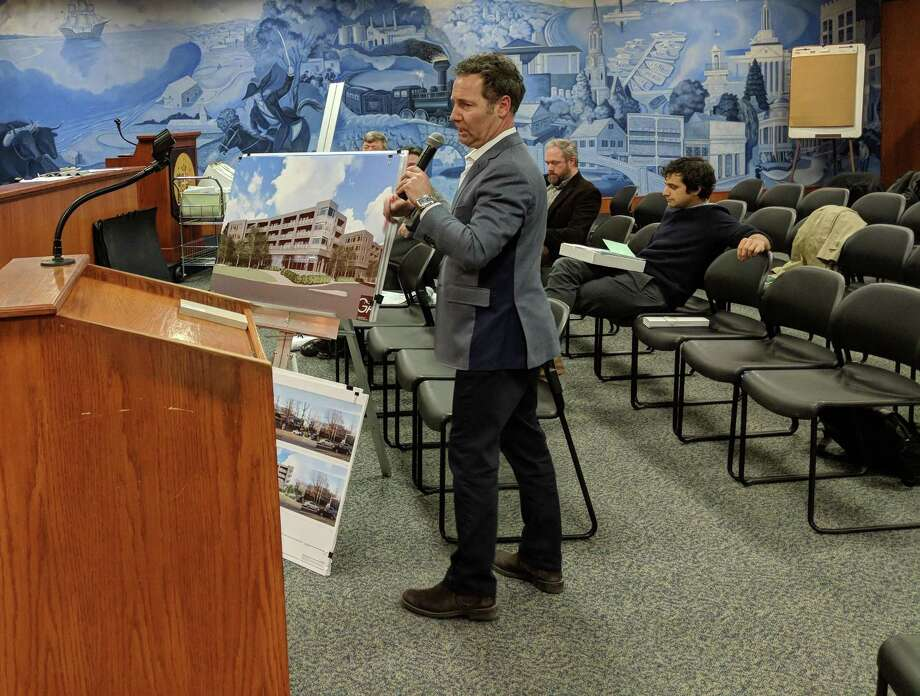 Architect Richard Granoff presented a development proposed for 581 to 585 West Putnam Ave. in Greenwich, Conn. at the last Architectural Review Committee meeting on Feb. 7, 2018. Photo: Jennifer Turiano / Hearst CT Media
