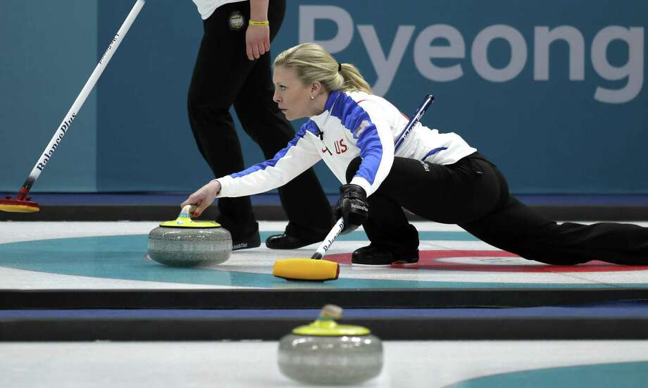 United States' skip Nina Roth prepares to throw the stone during their women's curling match against Britain at the 2018 Winter Olympics in Gangneung, South Korea, Thursday, Feb. 15, 2018. Photo: Aaron Favila / Associated Press / Copyright 2018 The Associated Press. All rights reserved