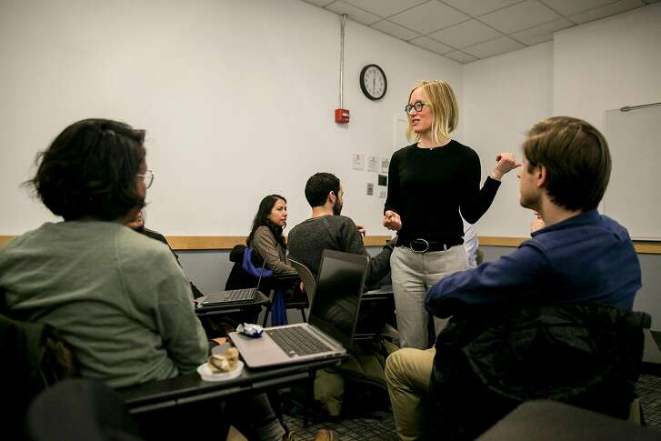 Laura Nor�n, a postdoctoral fellow at the Center for Data Science at New York University, teaches a course on ethics in data science at New York University in New York, Feb. 1, 2018. Schools that helped produce some of Silicon Valley�s most prominent leaders are hustling to bring a more medicine-like morality to computer science. (Sam Hodgson/The New York Times)