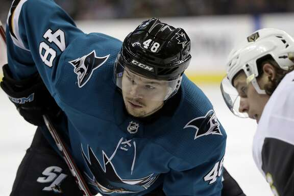 San Jose Sharks' Tomas Hertl (48) during the second period of an NHL hockey game against the Vegas Golden Knights Thursday, Feb. 8, 2018, in San Jose, Calif. (AP Photo/Marcio Jose Sanchez)