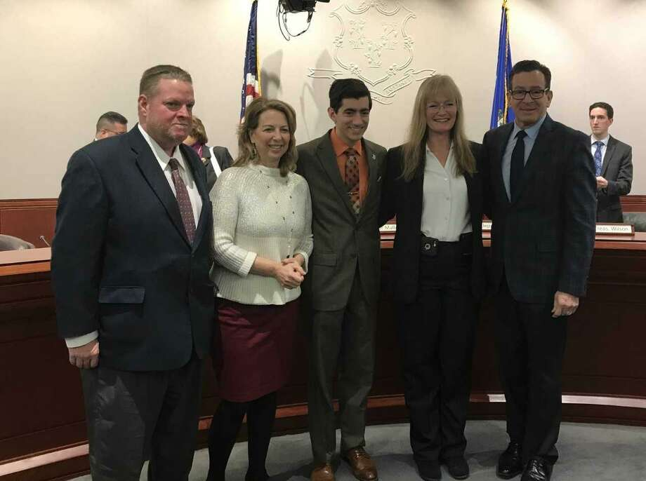 From left, Tom McCarthy, adviser to the mayor; state Rep. Dorinda Borer, D-West Haven; state Rep. Michael DiMassa, D-West Haven; West Haven Mayor Nancy Rossi; Gov. Dannel P. Malloy Photo: Contributed Photo