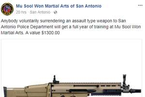 Mu Sool Won, a martial arts school in San Antonio, is offering a full year of training valued at $1,300 to anyone who surrenders their assault weapon to authorities.