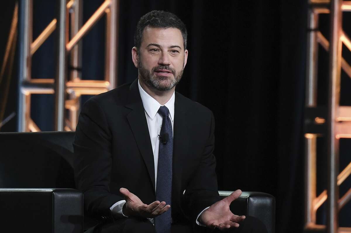 """FILE - In this Jan. 8, 2018 photo, Jimmy Kimmel participates in the """"Jimmy Kimmel Live and 90th Oscars"""" panel during the Disney/ABC Television Critics Association Winter Press Tour in Pasadena."""
