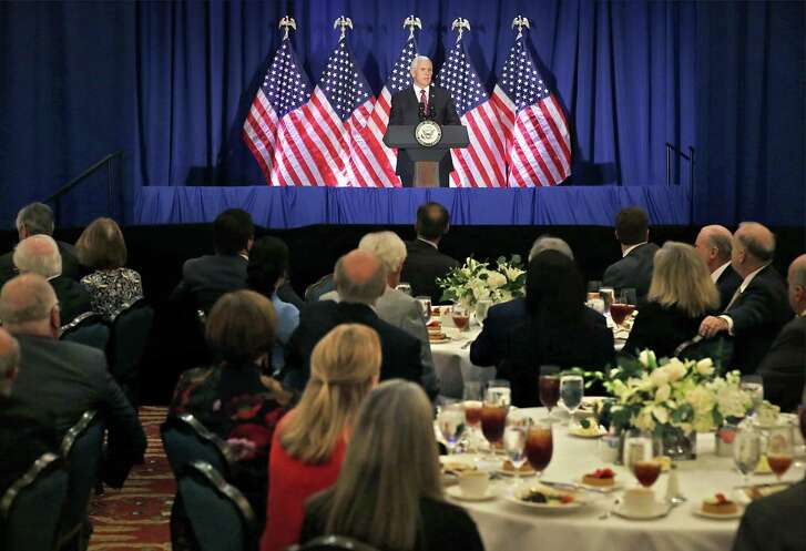 Vice President Mike Pence gives remarks at a Republican National Committee donor luncheon for the Trump Victory political action committee, on Friday, Feb. 16, 2018.