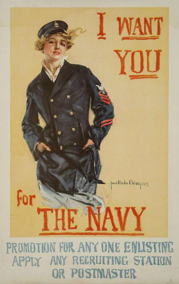 "Howard Chandler Christy's ""I Want You for the Navy"" is a 1917 lithograph on view at the Bruce Museum in Greenwich. Photo: Bruce Museum / Contributed Photo"