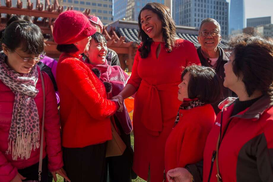 London Breed greets community members at a Chinese New Year event in Portsmouth Square. Photo: Jessica Christian, The Chronicle