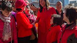 San Francisco Board of Supervisors President London Breed chats with members of the Chinatown community in Portsmouth Square during the kick-off event for Chinese New Year Friday, Feb. 16, 2018 in San Francisco, Calif.