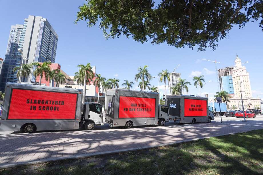 Three billboards traveling around Miami criticize Sen. Marco Rubio following a school shooting that left 17 dead in Florida Thursday. Photo: Avaaz