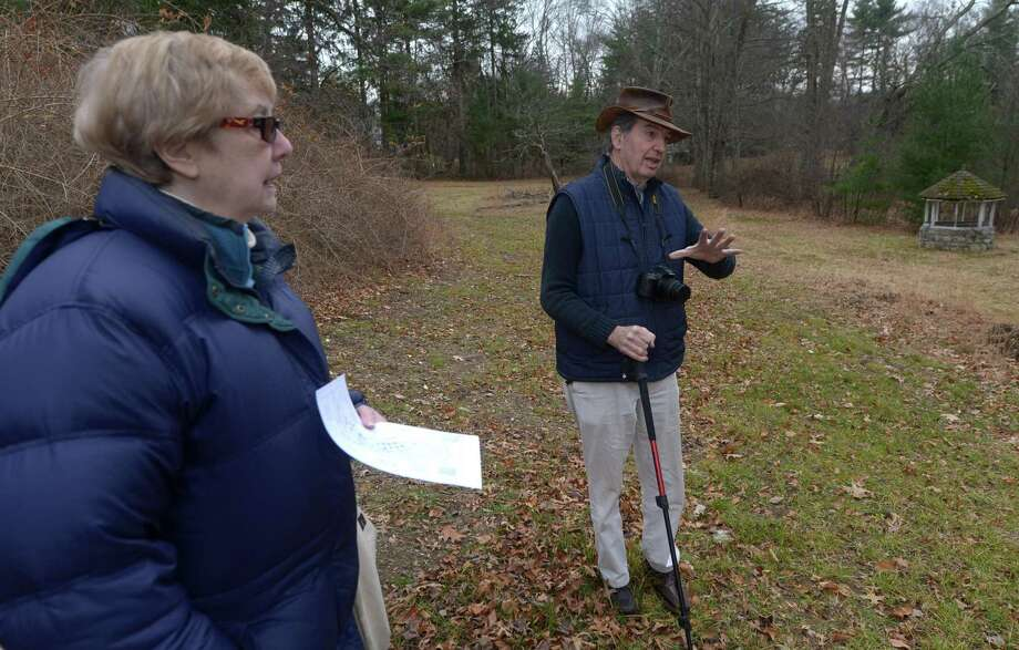 Members of the Board of the Norwalk Land Trust, including Peggy Holton and Seeley Hubbard. at the former White Barn Theater property in December. The trust has added seven acres off Pumpkin Lane to its inventory. Photo: Erik Trautmann / Hearst Connecticut Media / Norwalk Hour