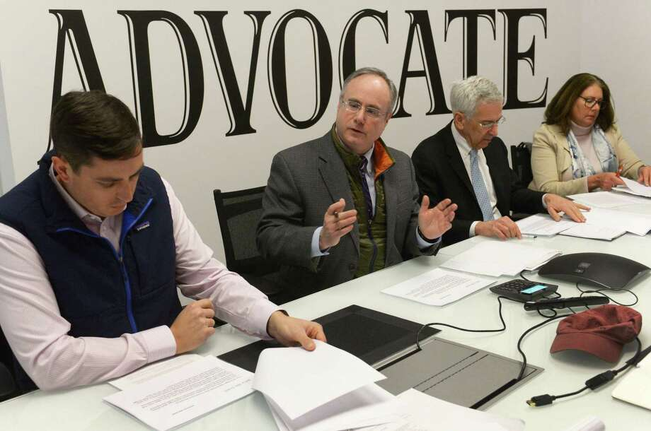 Members of the Norwalk Harbor Keeper group, including Patrick Sikes, Consultant Jon Cohen, Fred Krupp and Robin Penna, meet with reporters during an editorial board meeting at The Norwalk Hour Wednesday, February 14, 2018, in the Hearst Connecticut Media Group offices in Norwalk, Conn. The Norwalk Harbor Keeper group is suing the state and federal DOTs over the Walk Bridge replacement process. Photo: Erik Trautmann / Hearst Connecticut Media / Norwalk Hour