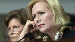 Sen. Kirsten Gillibrand, D-N.Y., right, has called for the resignation of President Donald Trump over allegations of sexual misconduct. But that's not going to happen — voters were well aware of his conduct and still elected him.