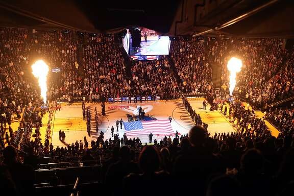 National Anthem before Golden State Warriors play Denver Nuggets at Oracle Arena in Oakland, Calif., on Monday, January 8, 2018.