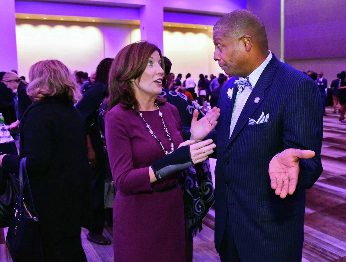 Lieutenant Governor Kathy Hochul and Senator James Sanders during a reception for the NYS Association of Black and Puerto Rican Legislators' (NYSABPRL) 47th Annual Legislative Conference at the Albany Capital Center Friday Feb. 16, 2018 in Albany, NY. (John Carl D'Annibale/Times Union)