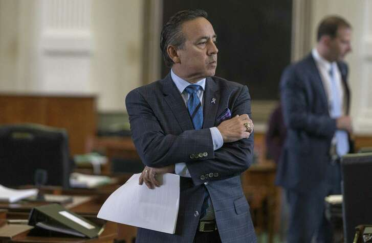 Texas State Sen. Carlos Uresti on the floor of the Senate at the Texas Capitol in Austin, Texas, Wednesday, March 8, 2017. (Stephen Spillman)