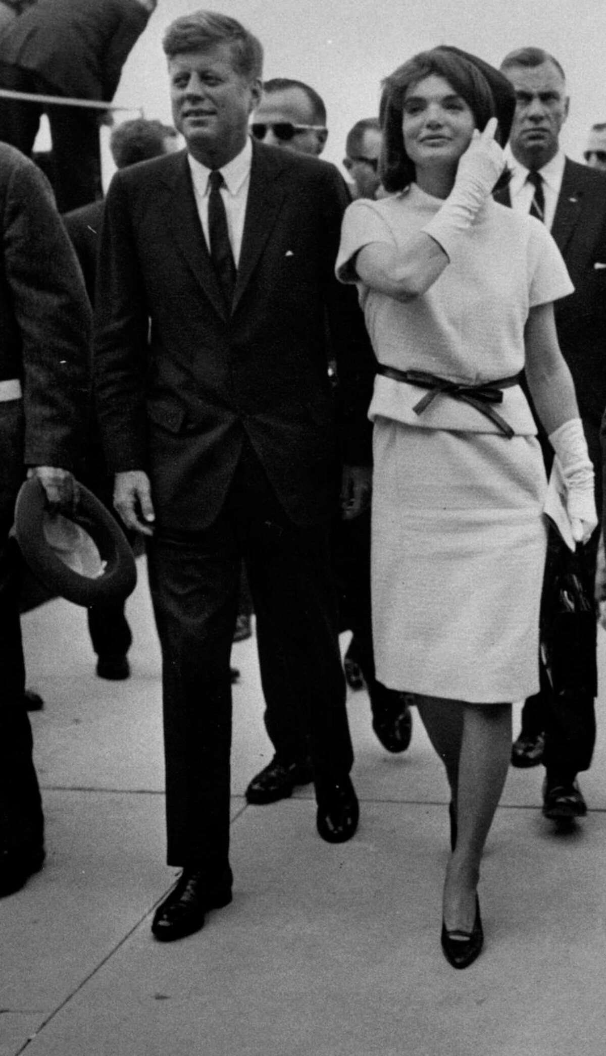President John F. Kennedy and first lady Jacqueline Kennedy are surrounded by security during their visit to San Antonio on Nov. 21, 1963, one day before his assassination in Dallas.