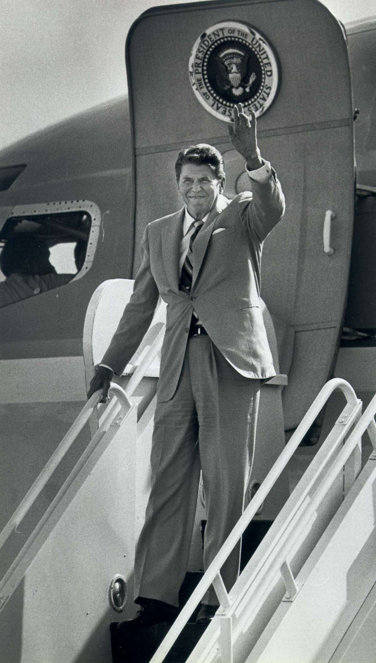 President Ronald Reagan waved to the crowd during a 1984 visit to San Antonio.