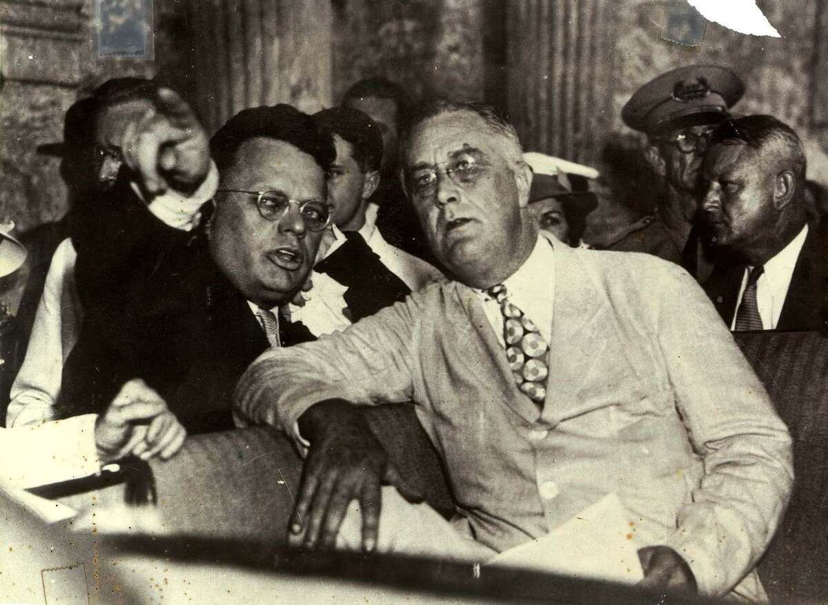 Congressman Maury Maverick Sr., right, points out the new U.S. Post Office in San Antonio to President Franklin Delano Roosevelt while riding in a car near the Alamo in 1936. Maverick became mayor of San Antonio in 1939 and counted on his friendship with Roosevelt to help secure federal funding to restore La Villita and for the River Walk.