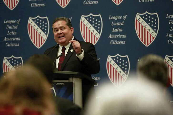 LULAC national president Roger Rocha talks about the need to stop unnecessary discrimination against any person of color at the LULAC's annual convention hosted at Henry B. Gonzalez Convention Center on July 6, 2017. Rocha is fighting attempts to oust him as president for his support of President Donald Trump's legislative blueprint for immigration law changes.