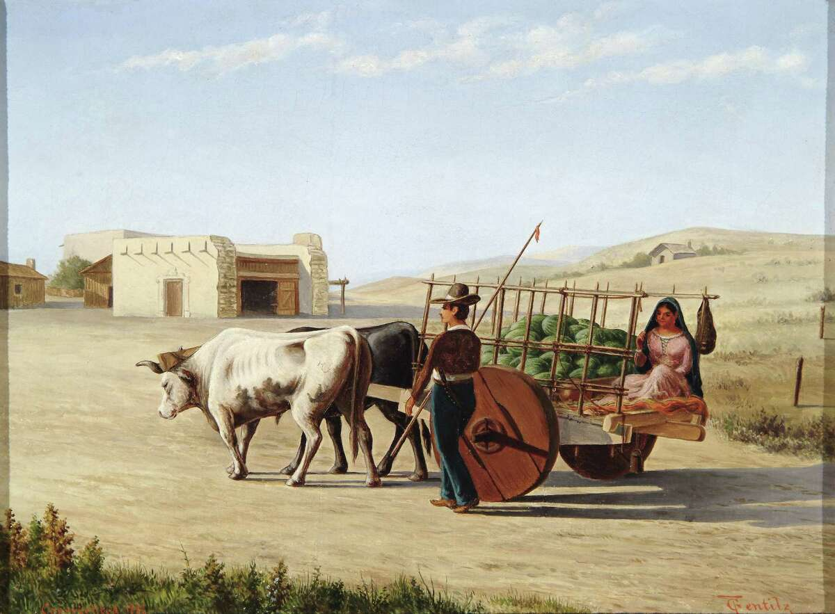 """""""Yendo a la Cuidad (Going to Town)"""" is typical of everyday life Gentilz depicted in his paintings."""