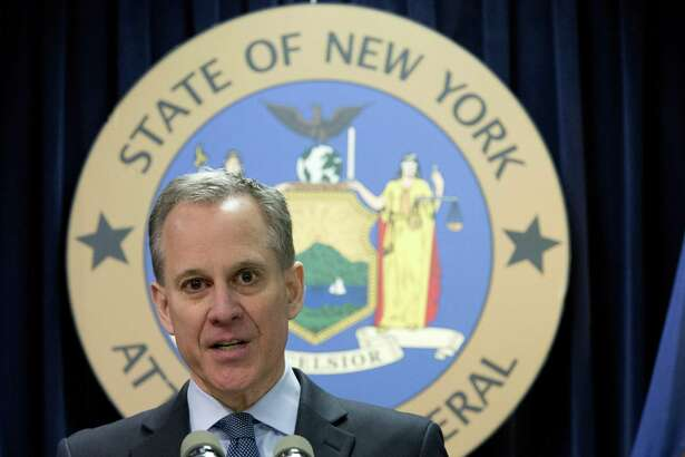 In this Feb. 11, 2016, file photo, New York Attorney Gen. Eric Schneiderman speaks during a news conference in New York. Schneiderman is suing Stamford-based Charter Communications for allegedly making promises about internet speeds it knew it could not deliver.