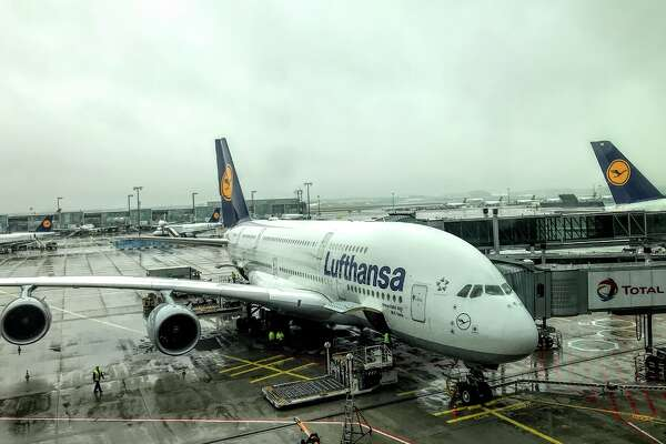 #9 Lufthansa flies two big planes into SFO every day from Frankfurt (like this Airbus A380) and Munich (using an A340) for a total of 787 seats