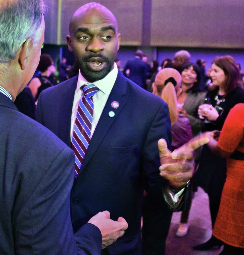 Assemblyman Michael Blake speaks with attendees during a reception for the NYS Association of Black and Puerto Rican Legislators' (NYSABPRL) 47th Annual Legislative Conference at the Albany Capital Center Friday Feb. 16, 2018 in Albany, NY. (John Carl D'Annibale/Times Union)
