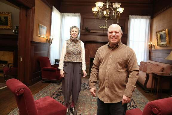 The great grandchildren of William and Bertha Haas Alice Russell-Shapiro (left) and John Rothmann (right) in the Haas Lilenthal house which has been restored on Thursday, February 15, 2018, in San Francisco, Ca.