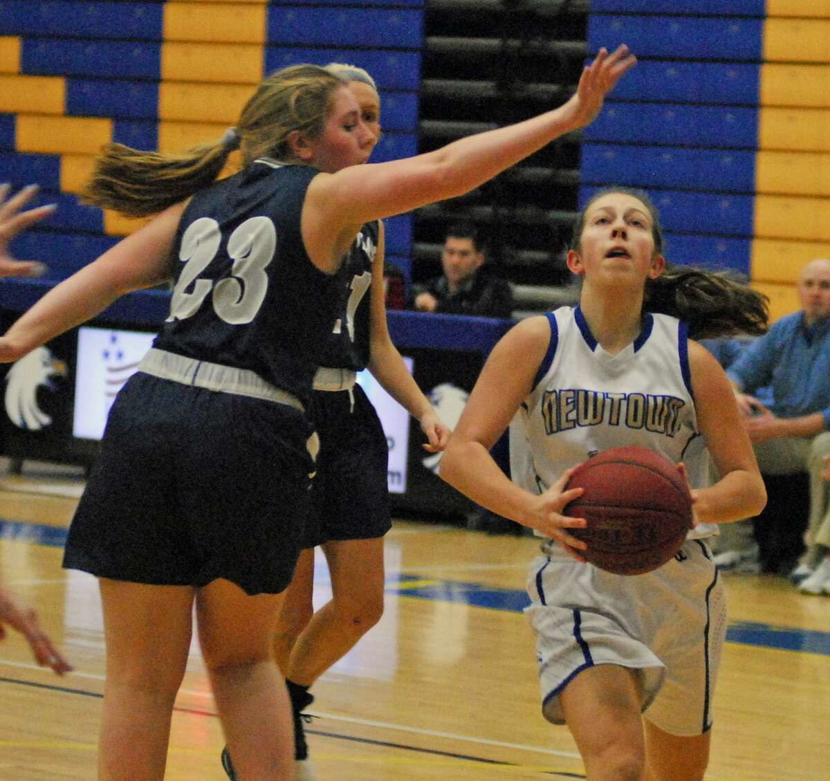 Newtown's Cyleigh Wilson converts a layup during a game against Immaculate in the SWC quarterfinals on Friday.