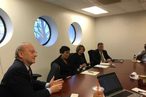 Meeting with the New Haven Register editorial board, from left: New Haven Economic Development Administrator Matthew Nemerson, Mayor Toni Harp, Rex Development Executive Director Ginny Kozlowski, Tweed Authority Executive Director Tim Larson, Register Senior Editor James Walker.