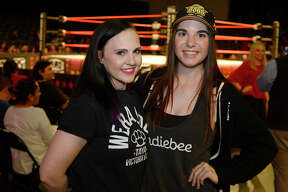 Geri Romo and Monica Lester during the Aro Lucha wrestling event at the Beaumont Civic Center on Friday night.  Photo taken Friday 2/16/18 Ryan Pelham/The Enterprise