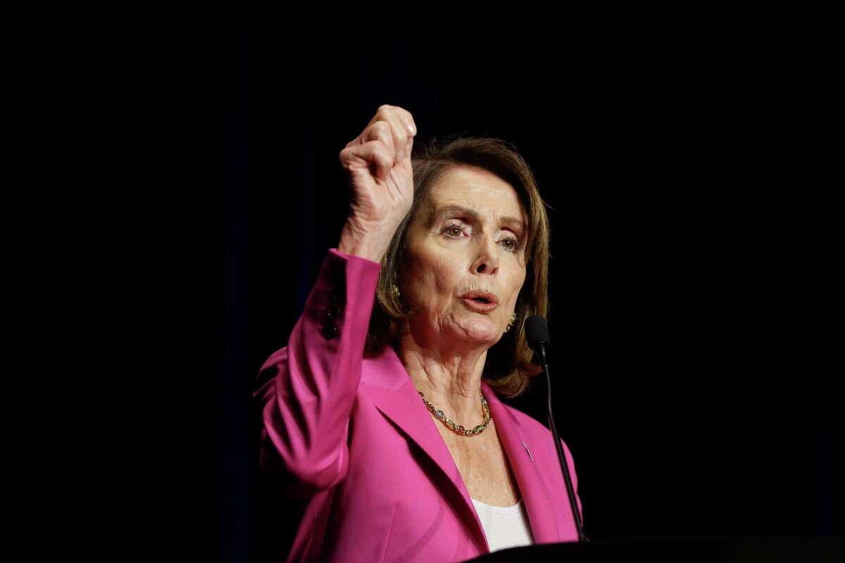 House Minority Leader Nancy Pelosi speaks at the Harris County Democratic Party's annual Johnson Rayburn Richards fundraising dinner at the Marriott Marquis Houston, 1777 Walker Street, Friday, Feb. 16, 2017.