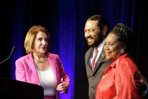 House Minority Leader Nancy Pelosi, left, with Congressman Al Green, and Congresswoman Shelia Jackson Lee , right, at the Harris County Democratic Party's annual Johnson Rayburn Richards fundraising dinner at the Marriott Marquis Houston, 1777 Walker Street, Friday, Feb. 16, 2017.