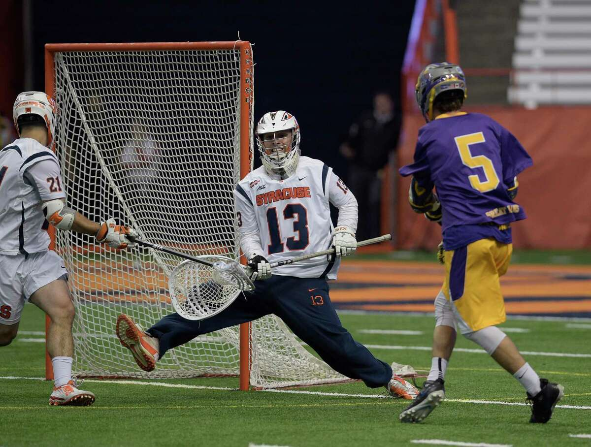 Syracuse goaltender Evan Molloy fails to block a shot from UAlbany's Connor Fields during the first round of Div. I Lacrosse NCAA playoffs, Sunday, May 15, 2016 in Syracuse, N.Y. (Jenn March/Special to the Times Union)