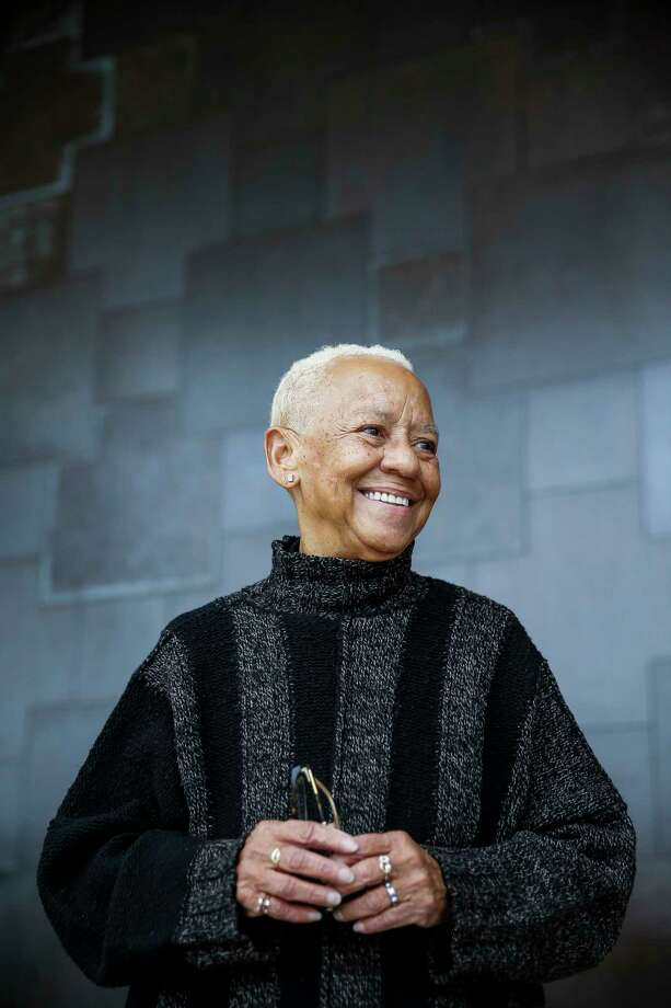 Poet Nikki Giovanni stands in the entrance of the African American Library at the Gregory School Thursday, Feb. 15, 2018 in Houston. She will be speaking about her new book, A Good Cry, at the UH Cullen Performance Hall Thursday night. Photo: Michael Ciaglo, Houston Chronicle / Michael Ciaglo