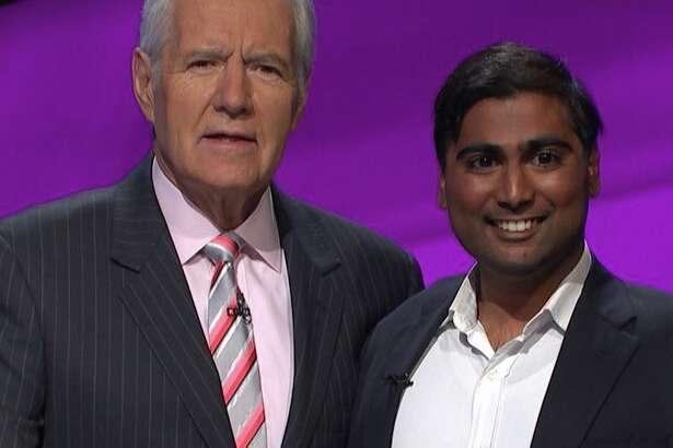 Vinay Kadiyala with Jeopardy! hostAlex Trebek during the November taping of the show.