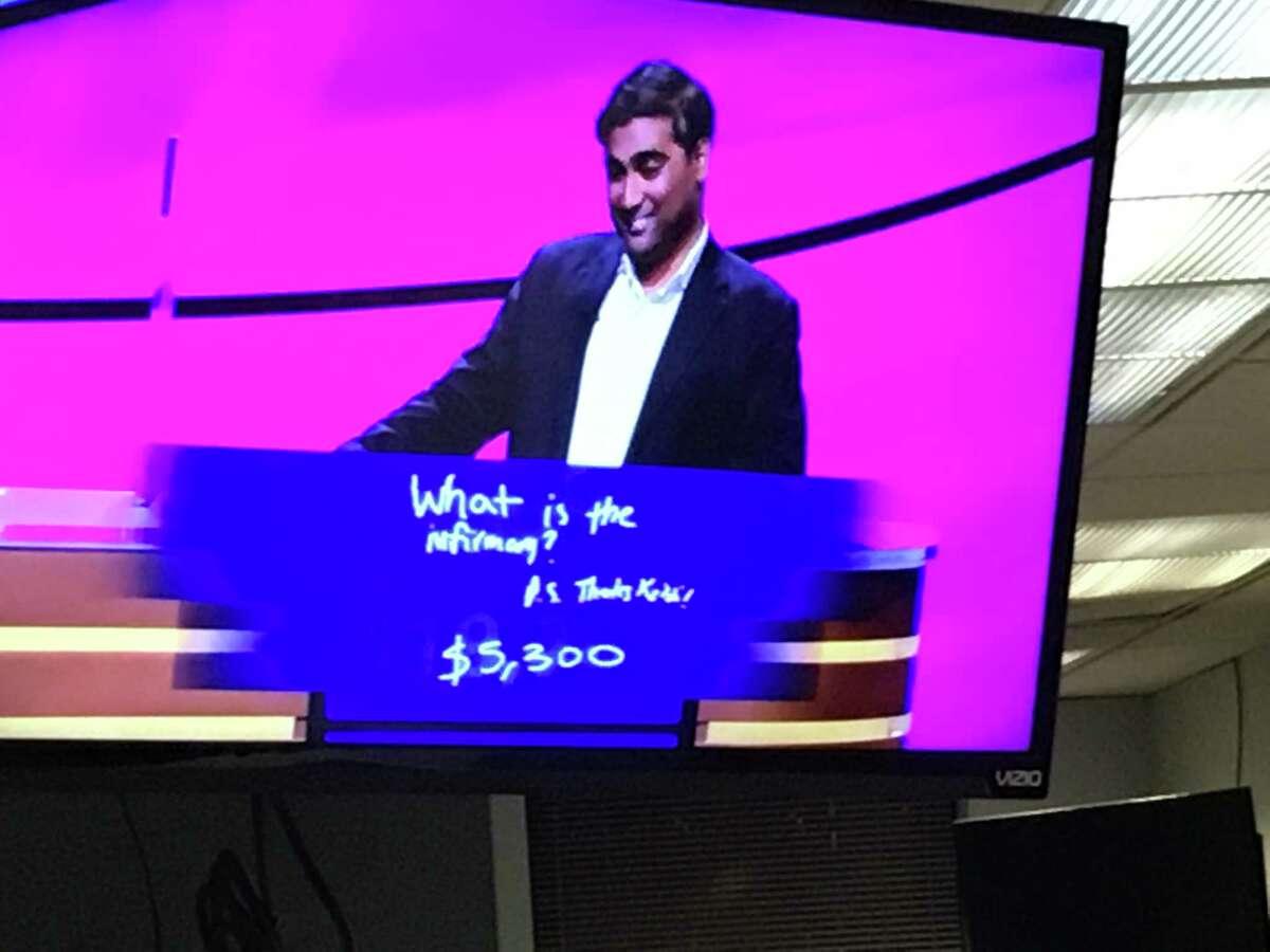 A screenshot of a TV showing Vinay Kadiyala's answer to the final Jeopardy!