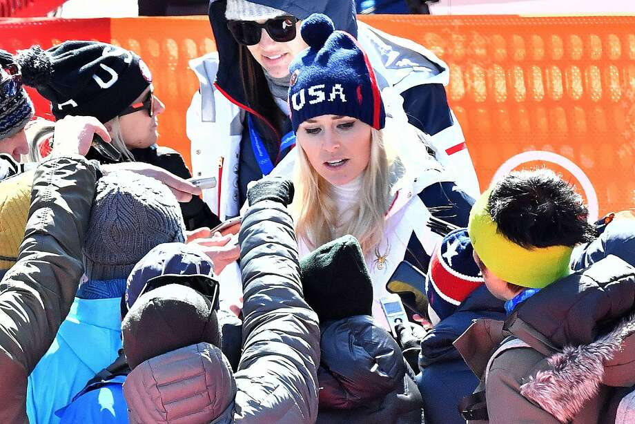 USA's Lindsey Vonn speaks to the press after the Women's Super-G at the Jeongseon Alpine Center during the Pyeongchang 2018 Winter Olympic Games in Pyeongchang on February 17, 2018.  Czech snowboarder Ester Ledecka sprang one of the biggest shocks in Winter Games history when she won the super-G with US star Lindsey Vonn finishing sixth. / AFP PHOTO / Dimitar DILKOFFDIMITAR DILKOFF/AFP/Getty Images Photo: DIMITAR DILKOFF, AFP/Getty Images