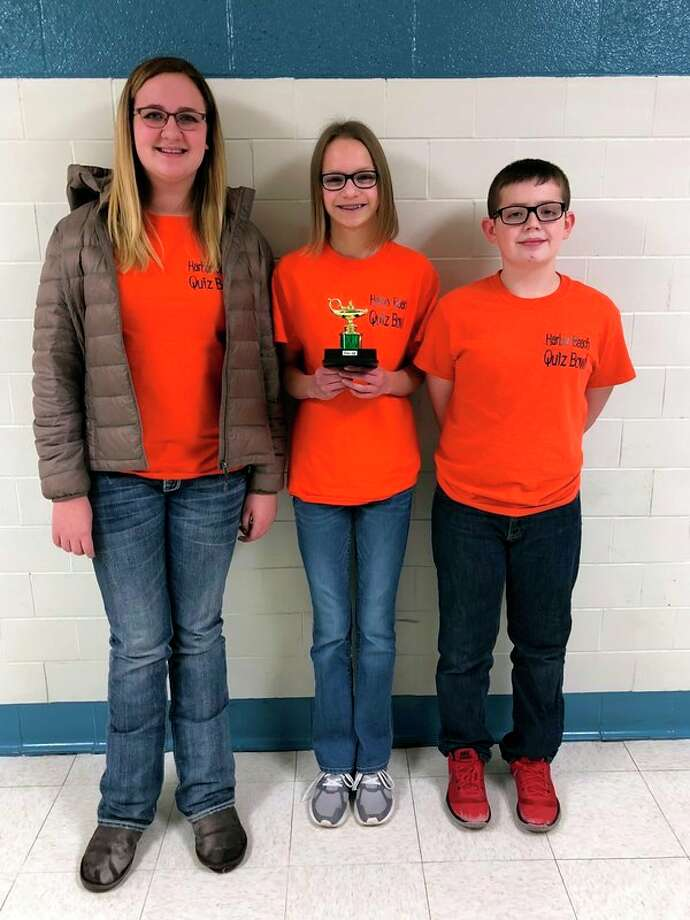 Taking third place at a recent quiz bowl meet was the Harbor Beach team, who is made up of (from left): Tessa Emerick, Airyn Arntz, and Max Climer. (Submitted Photo)